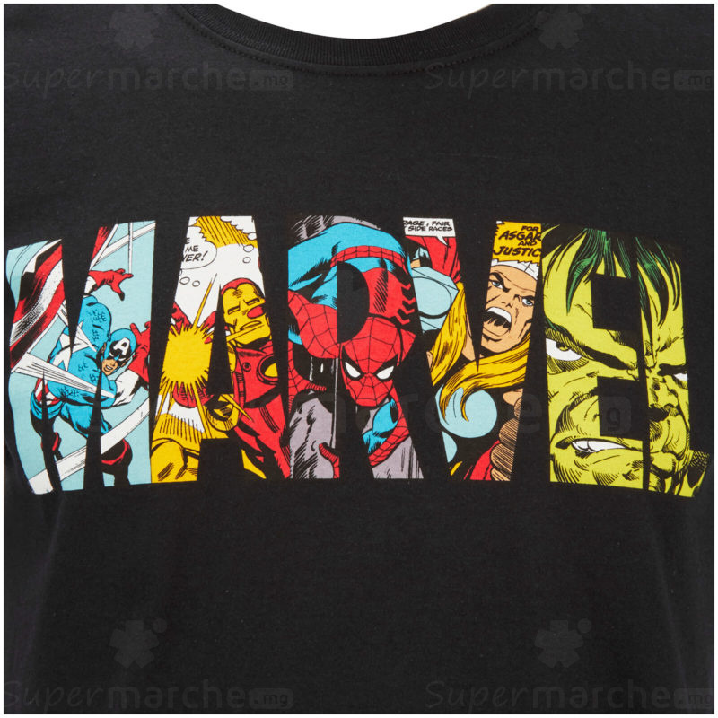 T-shirt Comic Strip Logo | Marvel | noir