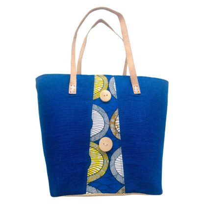 Panier Artisanal à motif bleu en tissu