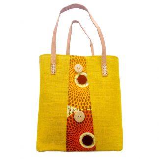 Panier Artisanal à motif jaune en tissu | fabriqué à Madagascar