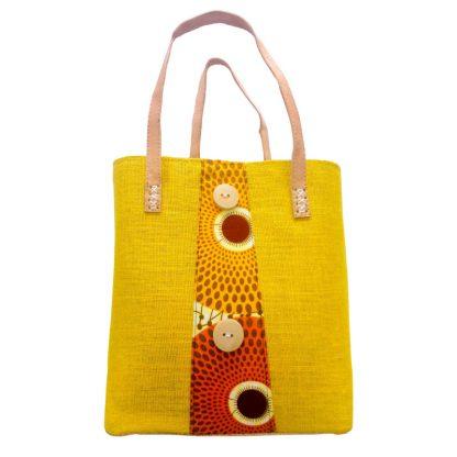 Panier Artisanal à motif jaune en tissu   fabriqué à Madagascar