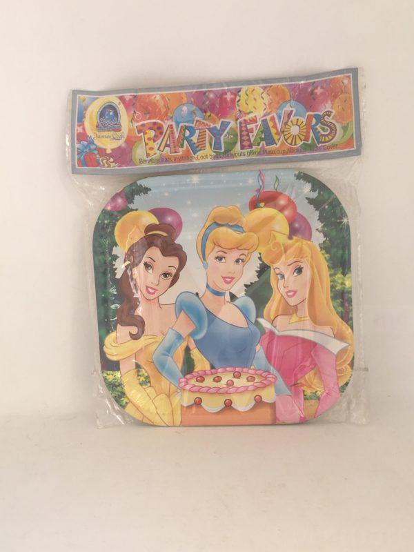Assiette d'anniversaire carré princesse disney 1