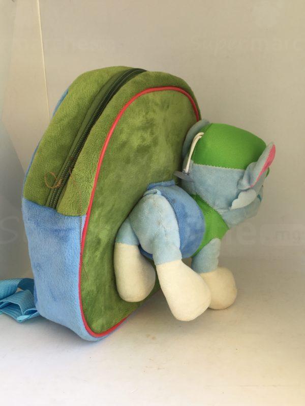 cartable peluche paw patrol bleu et vert 2