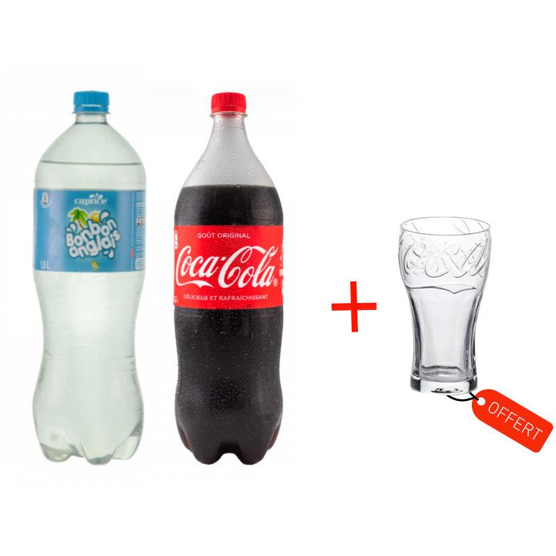 pack 1 coca et 1 bonbon anglais 1 verre offert